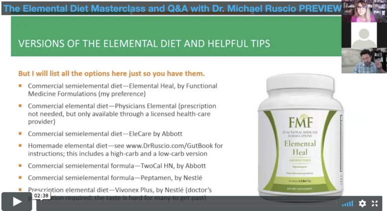 Elemental Diet Masterclass with Dr. Ruscio