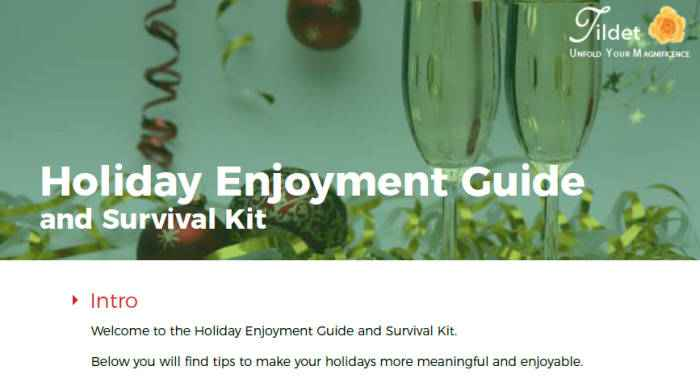 Holiday Enjoyment Guide and Survival Kit
