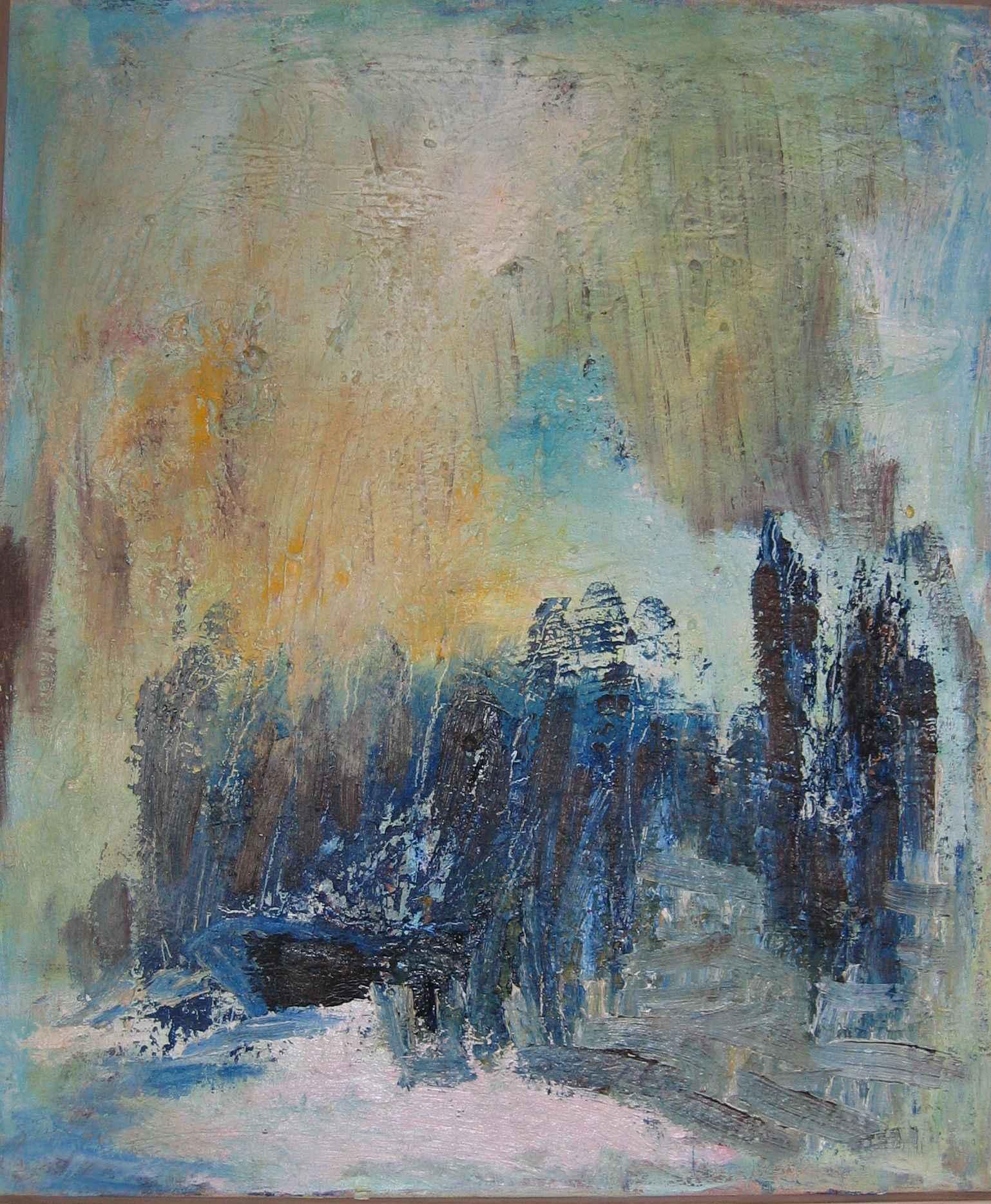 Maleri  af kunstmaler Anne Grethe Pind, nr 392 båden begraves