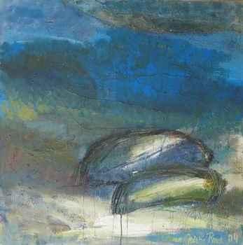 Maleri af kunstmaler Anne Grethe Pind, Omvendte både, 100x100 cm