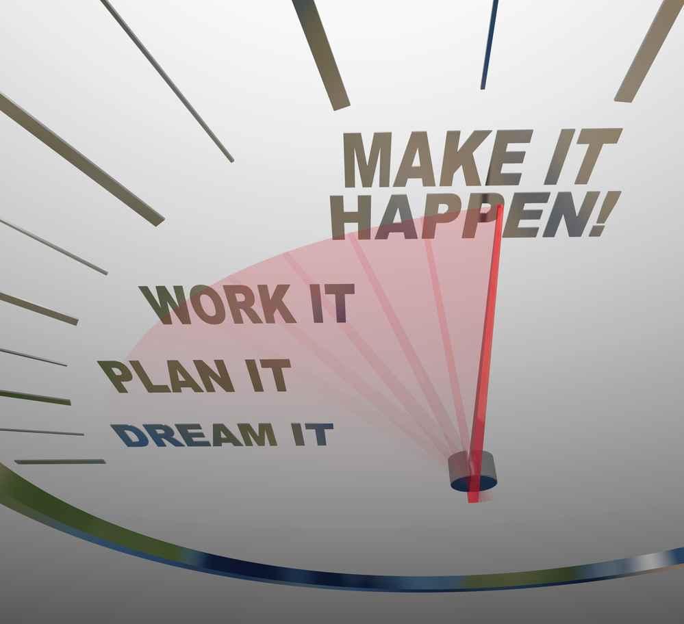 Make it Happen Speedometer Dream Plan Work Achieve Goal