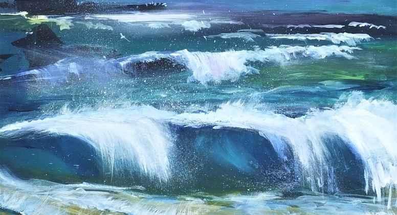 Landskabsmaleri - vand og himmel