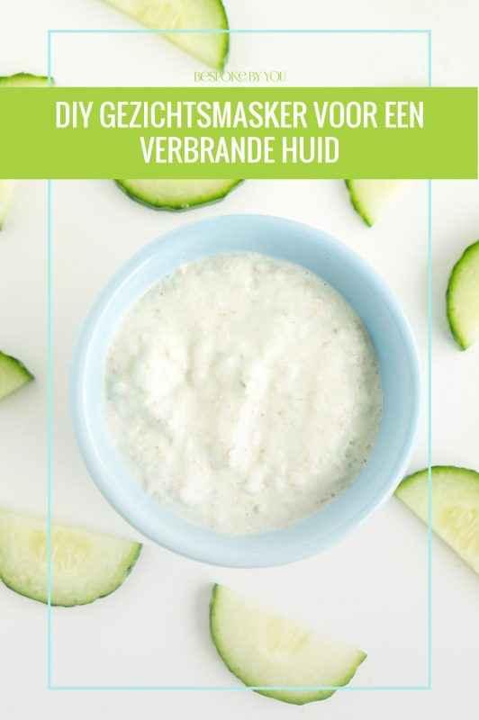 DIY natuurlijk gezichtsmasker voor verbrande huid met havermout, yoghurt en komkommer