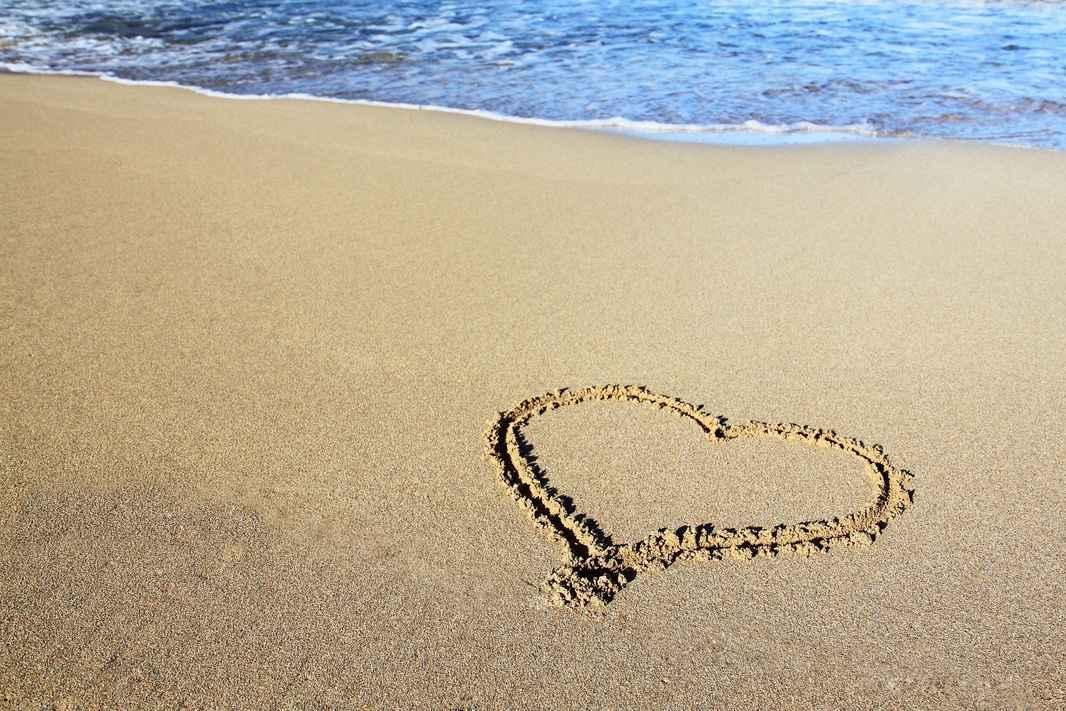 Hjerte på strand