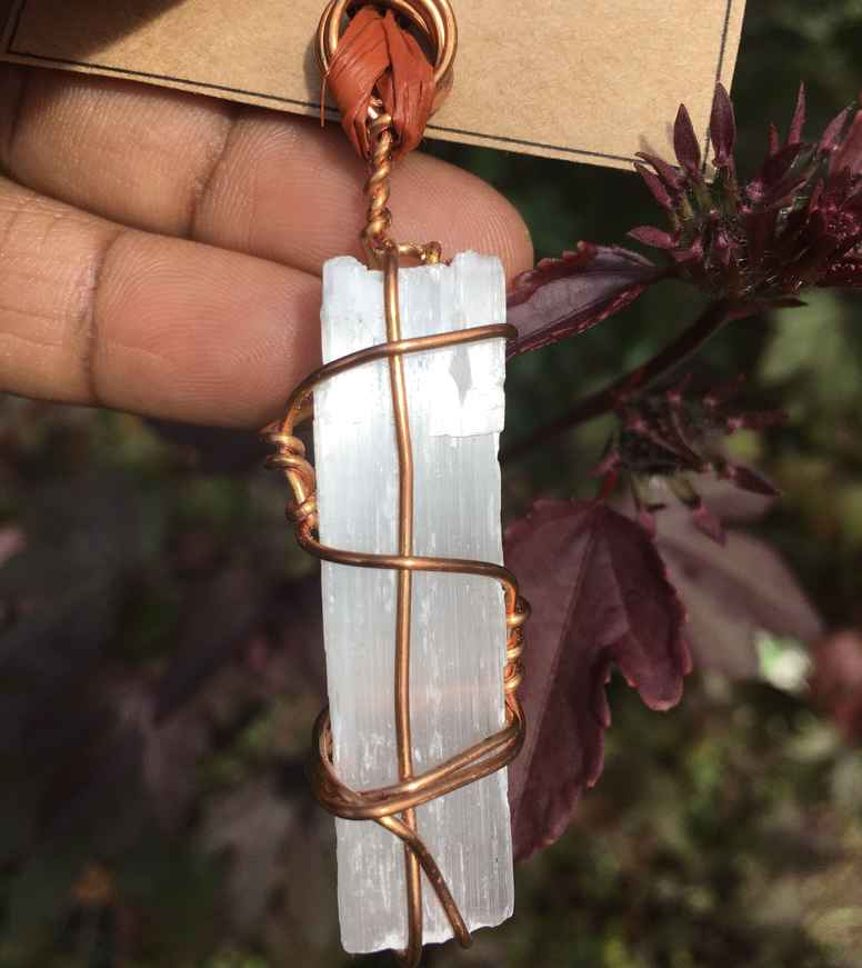 Raw Selenite Pendant