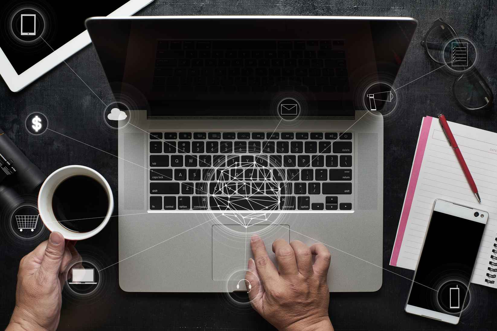 graphicstock-man-using-laptop-make-payments-online-shopping-and-icon-customer-network-connection-on-screenwooden-black-office-desk-table-on-top-view_BurlqPjwgol