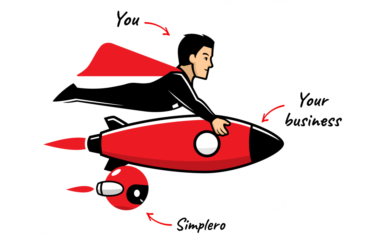 Simpleroman with rocket and arrows transparent bg.png