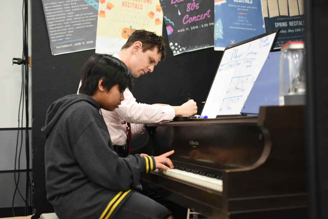 Roger Fandel piano teacher during lessons