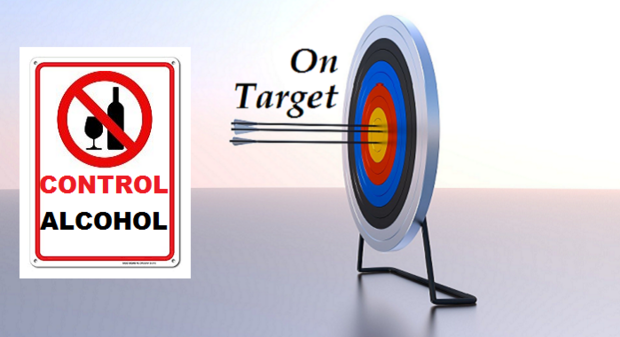 On target control alcohol product