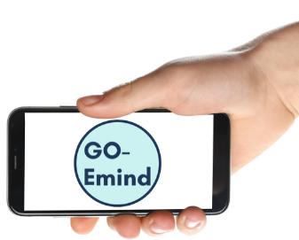 GO-EMIND logo hånd med mobil  cirkel