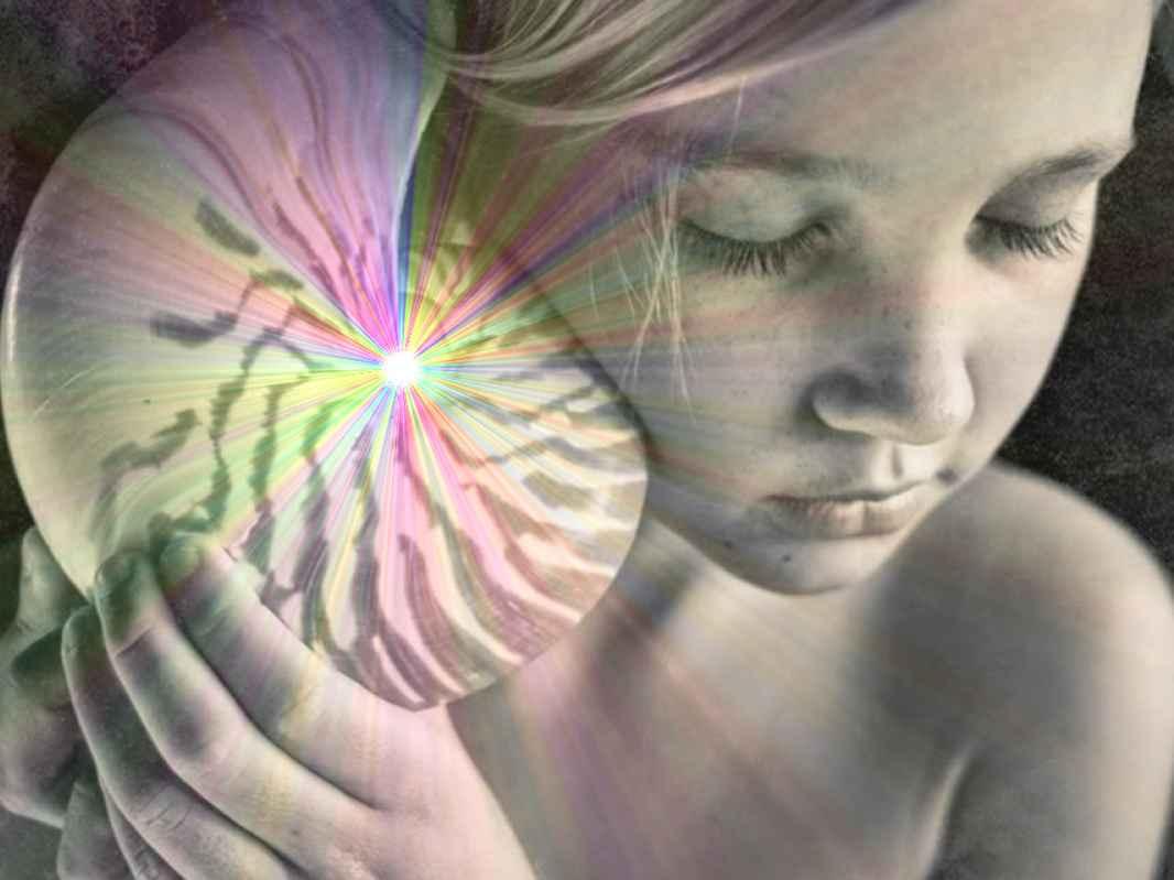 Child cosmic art ear hear listen seashell