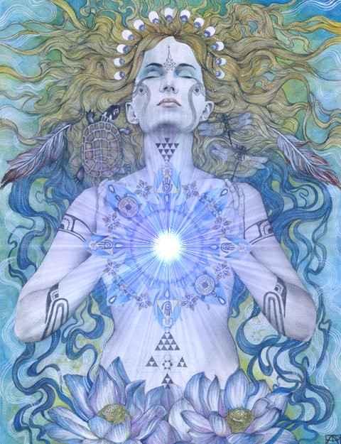 heart open chakra cosmic light art shaman