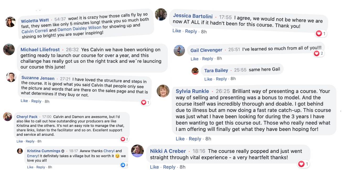 A collection of positive Facebook comments about the Laptop Lifestyle Challenge from 10 different people