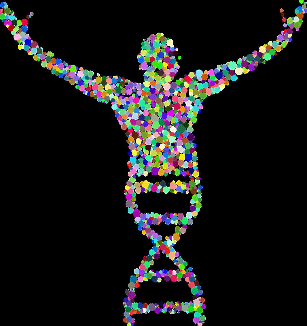 dna-spiral dots man arms gene