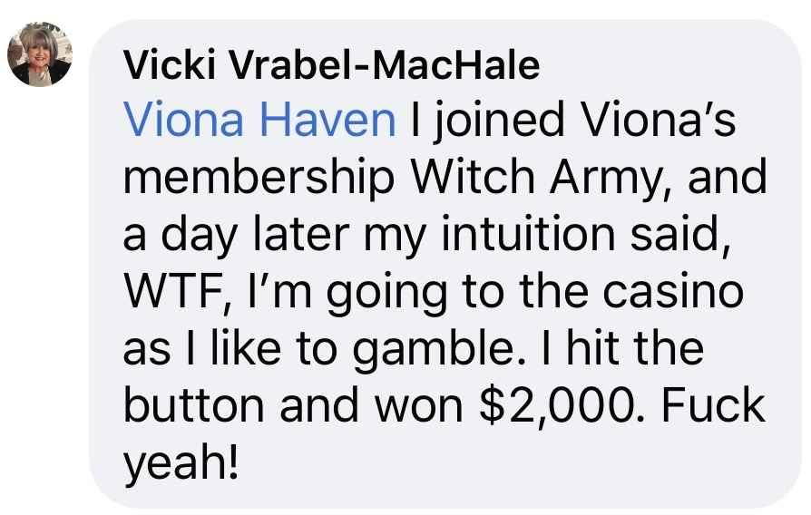 vicki testimonial lottery witch army