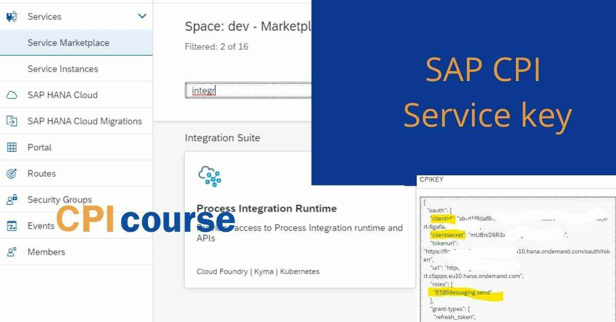 Create SAP CPI Service keys