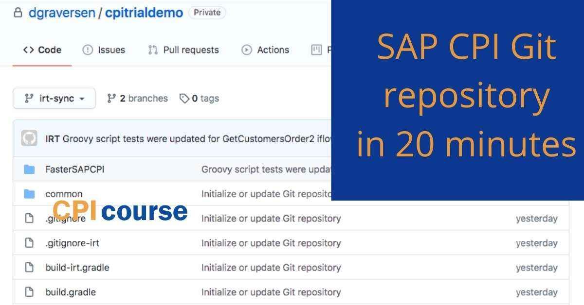 SAP CPI Git repository in 20 minutes