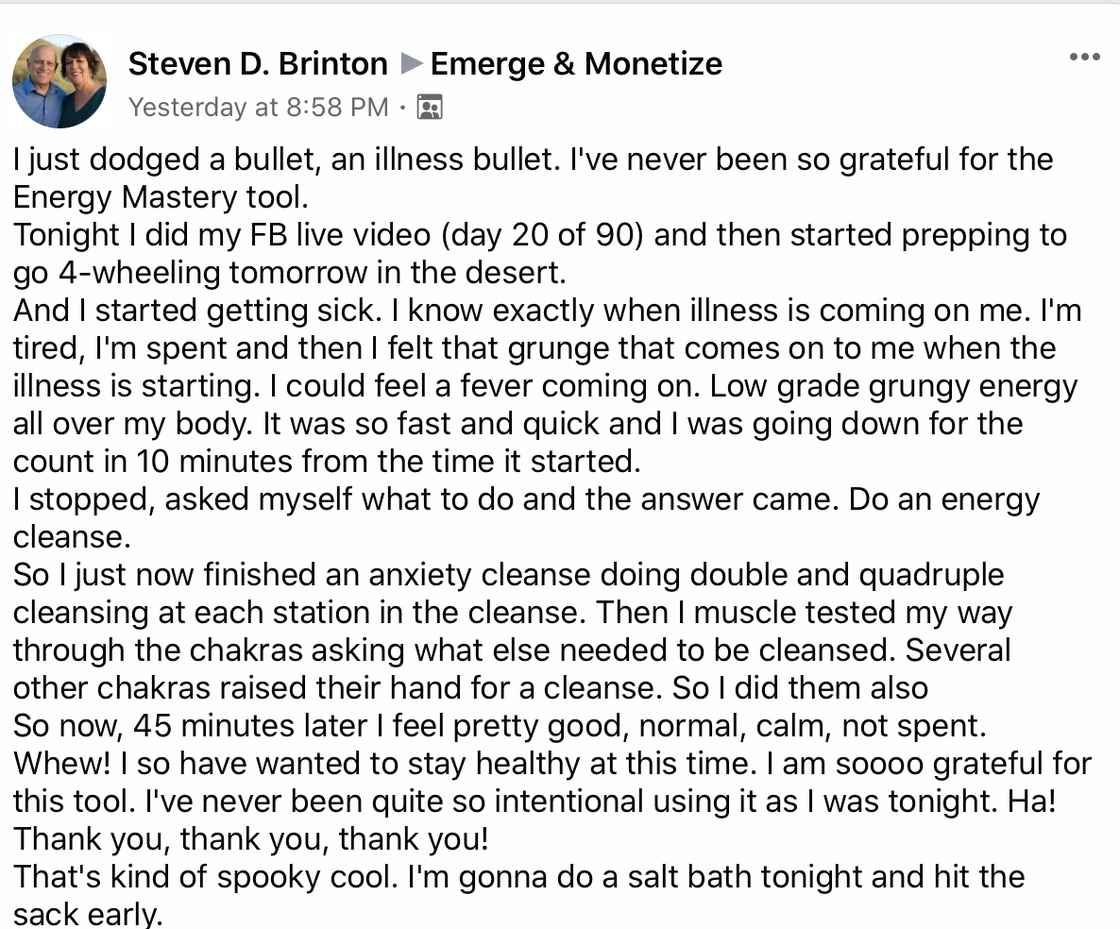 Steve Brinton Testimonial