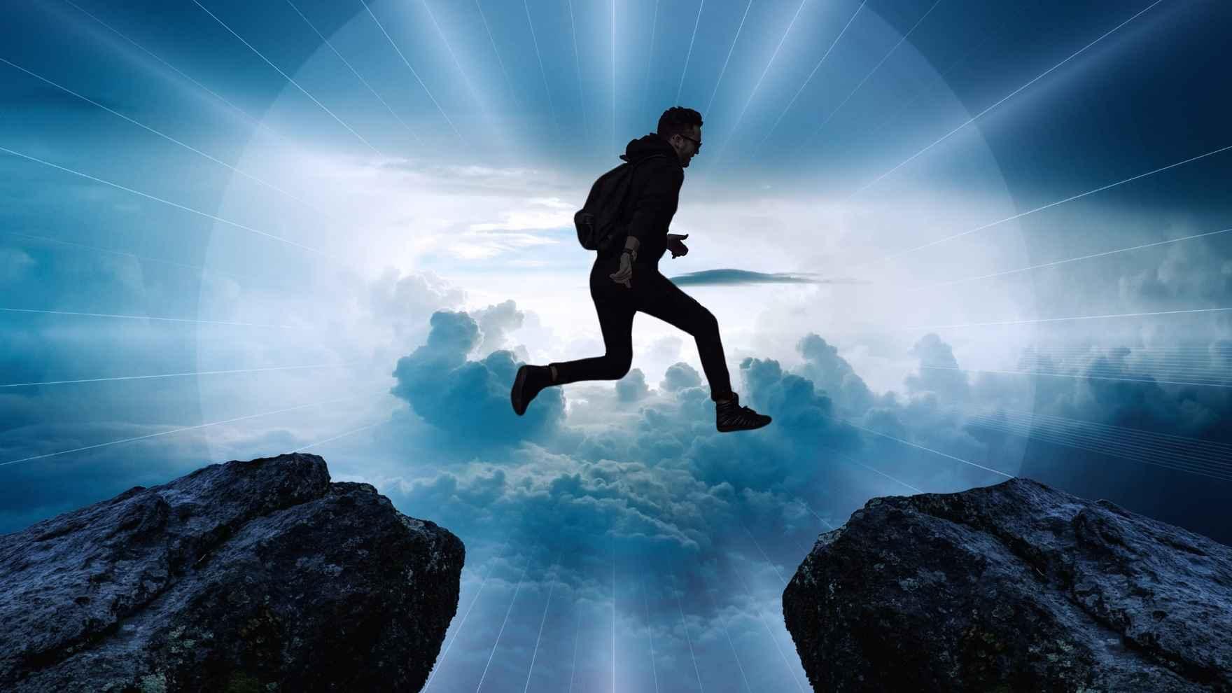 leap faith heros journey rock jump man sky light epic banner