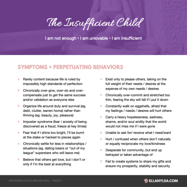 Ellany Lea - Wounded Child Archetypes - Insufficient P1