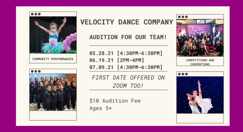 Velocity/Performance Group Auditions 6/19/21