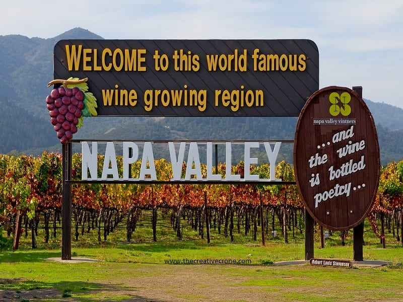 Napa Valley sign at entrance to the valley