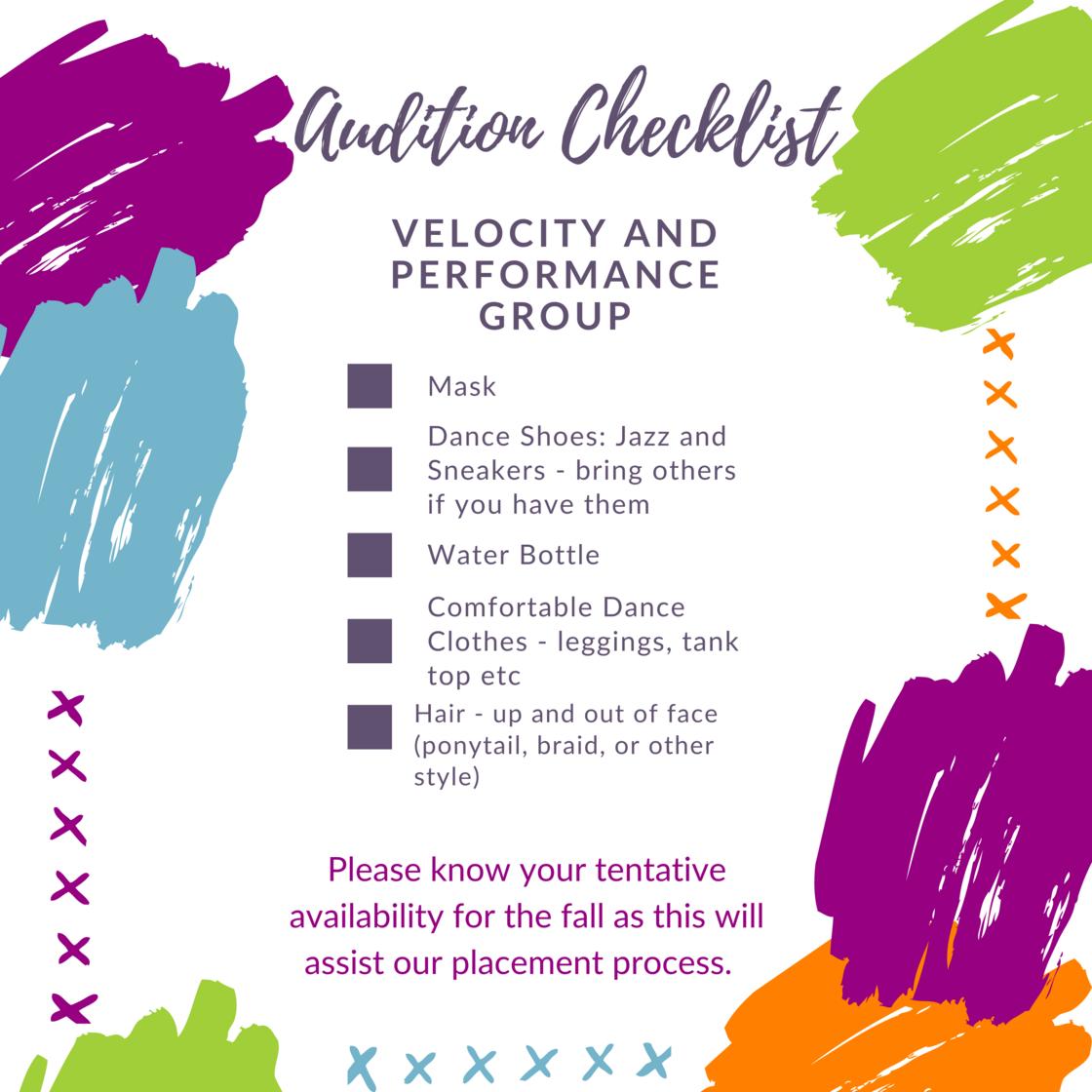 Copy of Velocity Audition Checklist List