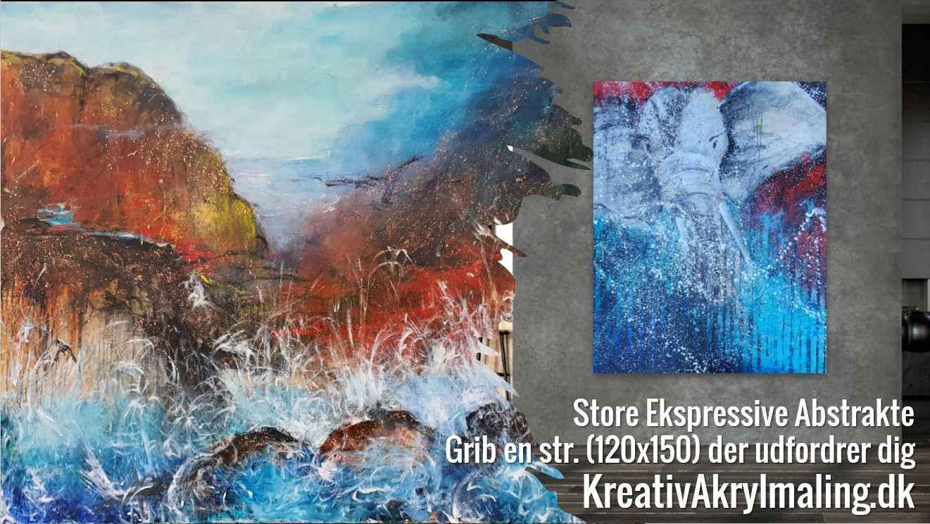 Ekpressive abstrakte malerier  - ekpressivt landskab og elefant