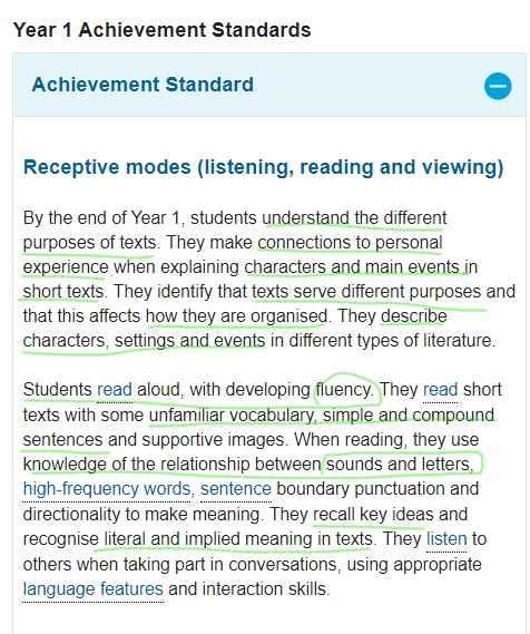 AC Receptive Achievement standard - Year 1