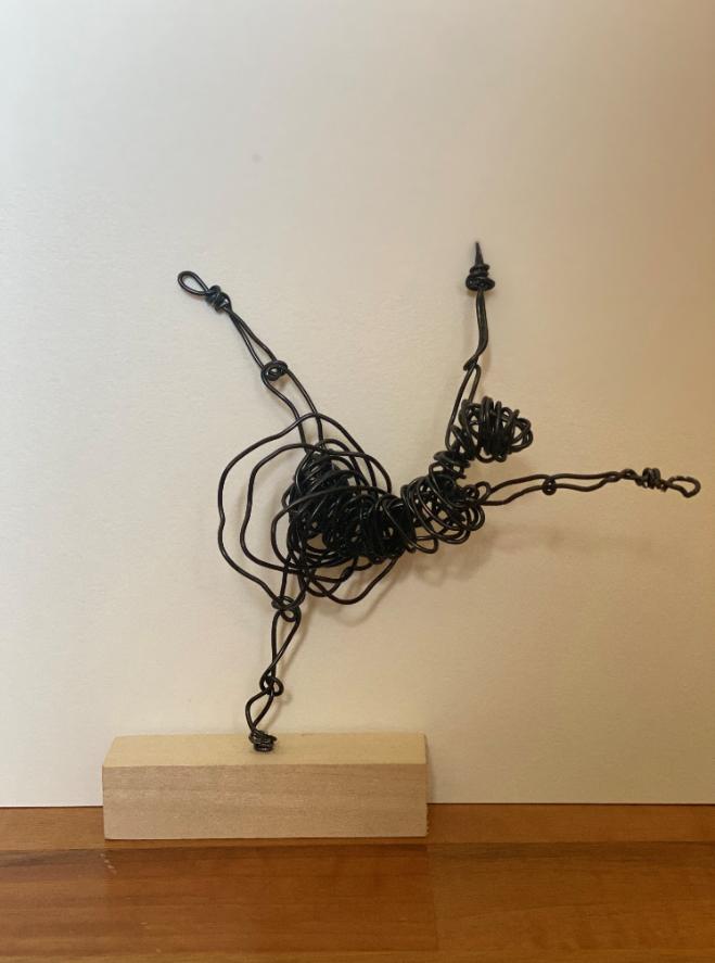 Ballet dancer black wire sculpture on wooden block stand (18x6x19cm)