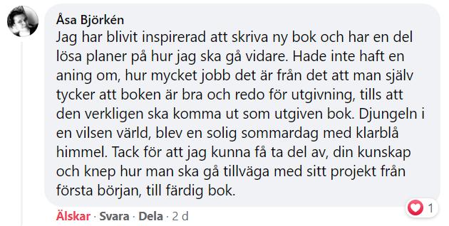 Åsa Björkens tankar om kursen