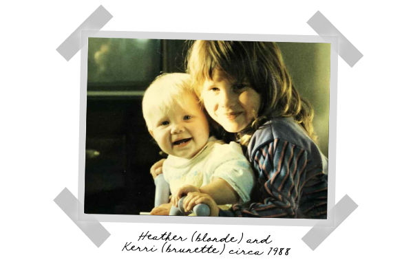 Heather (blonde) and Kerri (brunette) circa 1988