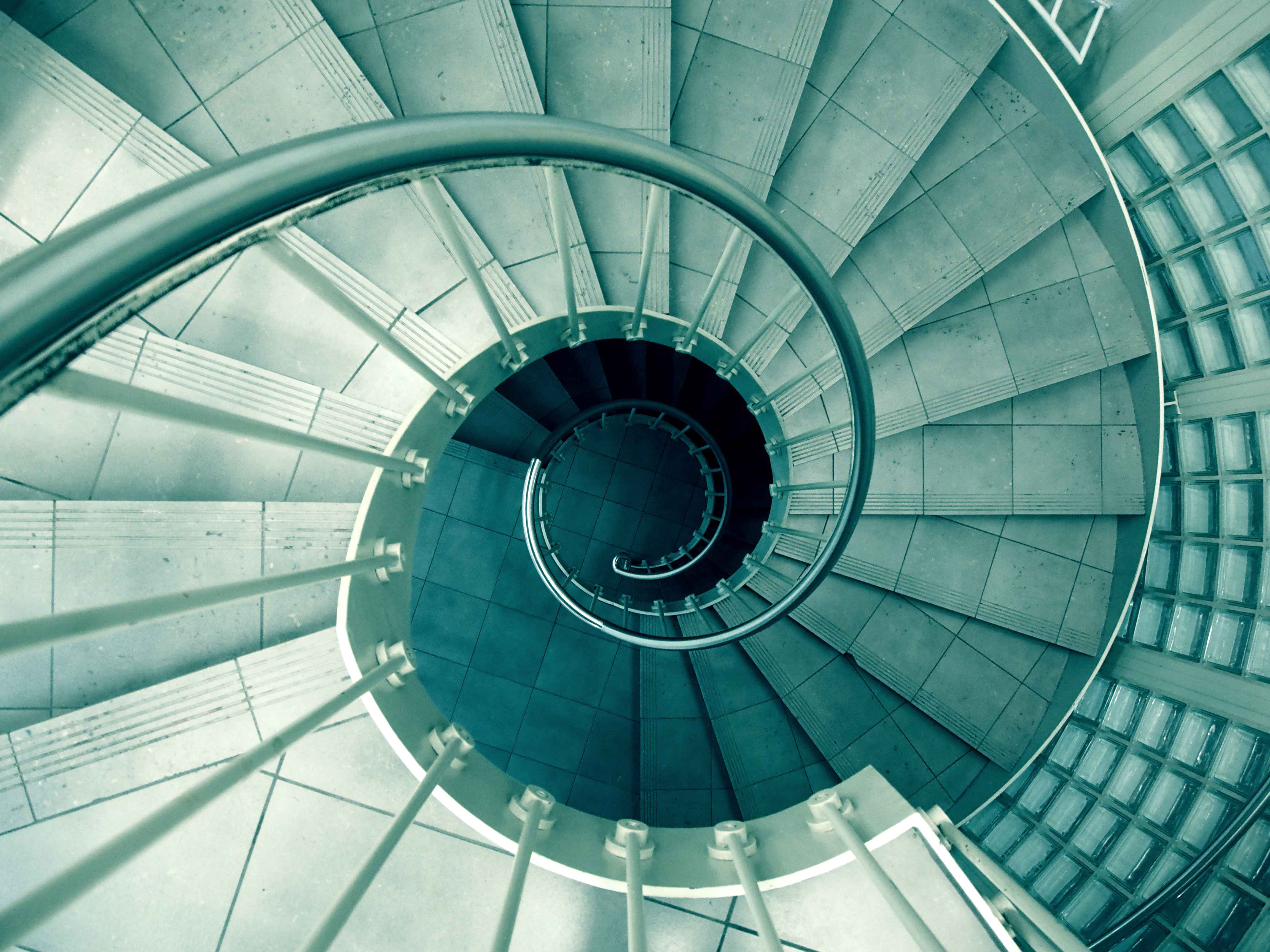spiral staircase teal