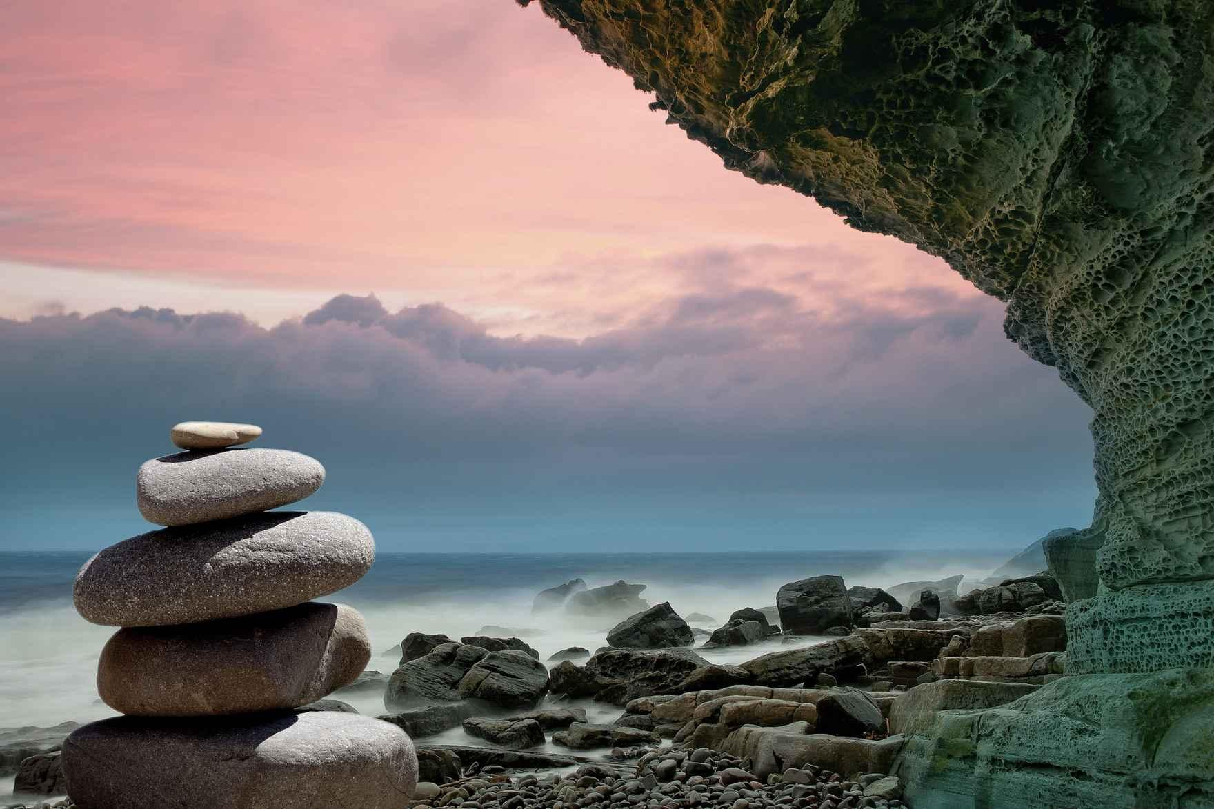 zen rocks sky and sea