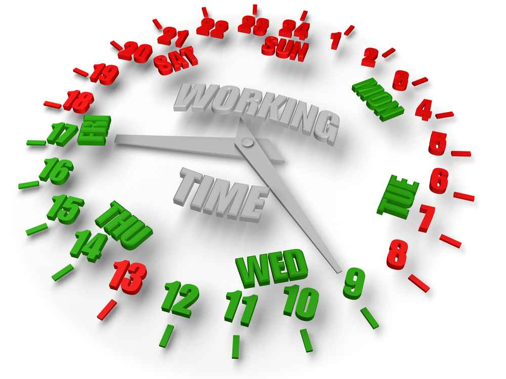 Work week clock. Working time 8x5. image