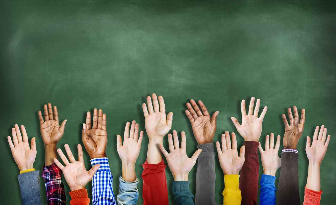 children hands up